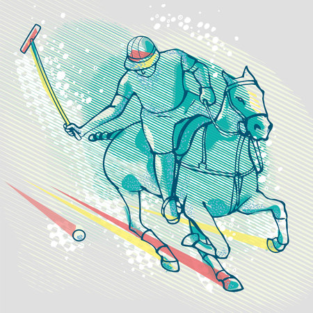 polo player: Polo player graphics on background Illustration