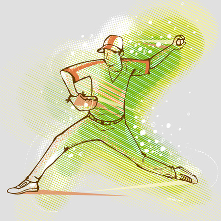 Baseball player on the background graphics