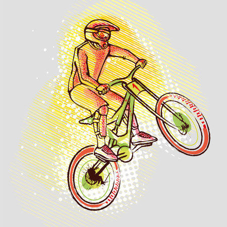 Cyclist ride mountain bikes on the background graphics