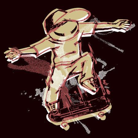 Cartoon freestyle skater jumping on skateboard