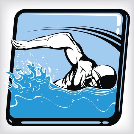 freestyle: Dynamic icon of freestyle swim Illustration