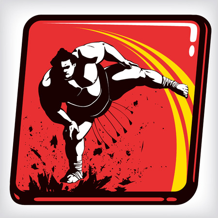 Dynamic icon of martial art sumo Illustration