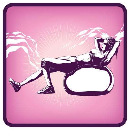 Graphics icon of gymnastics pilates Illustration