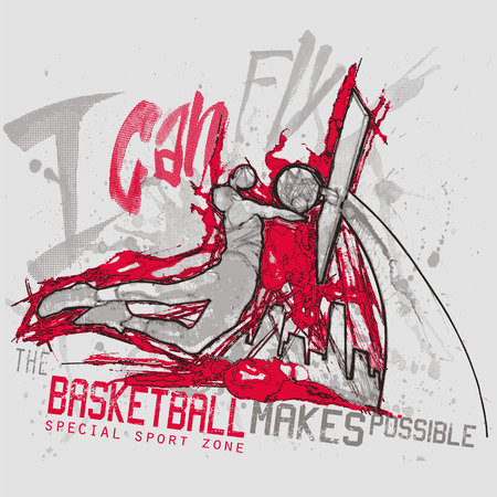 action sports: Sports action of basketball player on urban background Illustration