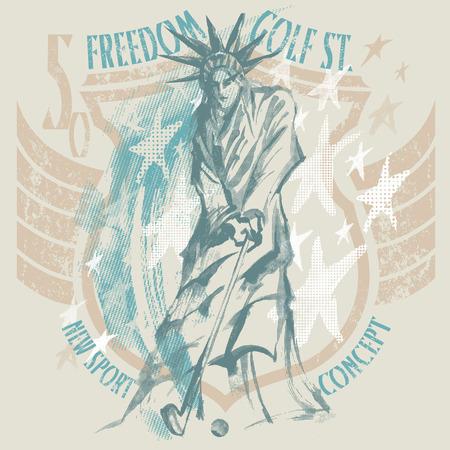 The statue of liberty play golf on americans badge Illusztráció