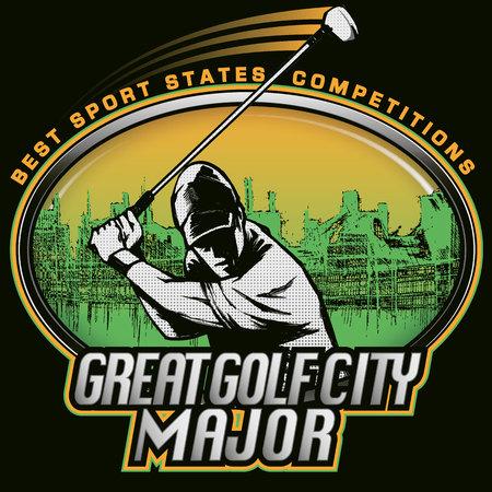golf player: Golf player urban stamp