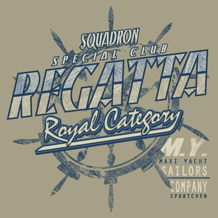 regatta: Composition of written about sailing regatta Illustration