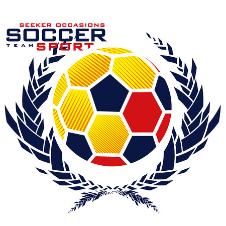 Graphics soccer ball with abstract laurel