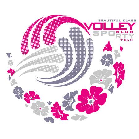 Graphics volley ball with trail of flowers Illusztráció