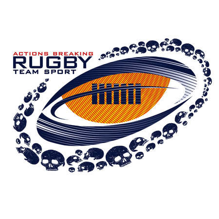 Graphics rugby ball with trail of skull