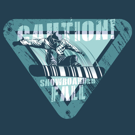 Falling snowboarder on modified road sign