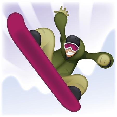 snowboarder cartoon Illusztráció