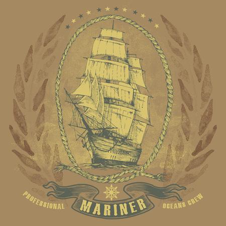 sailing ship: Antiqued sailing ship emblem