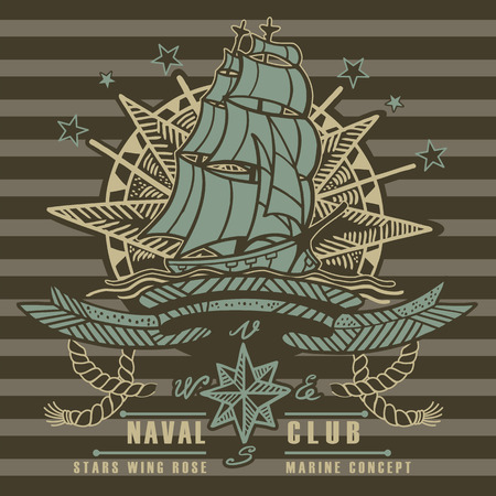 sailing ship: Sailing ship wind star emblem