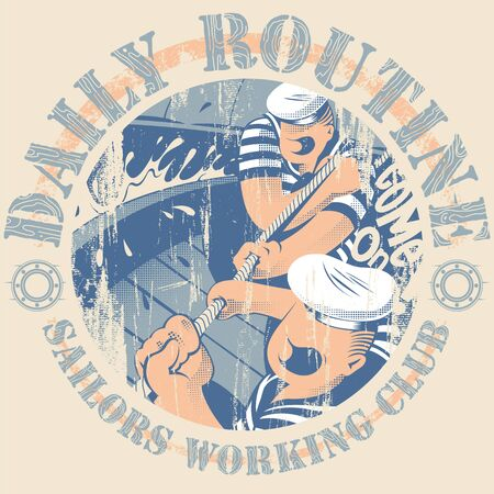 pulling rope: Working sailors pulling a rope Illustration