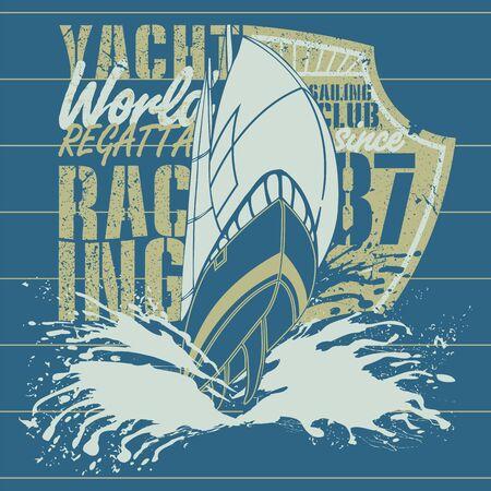 deportes nauticos: Barco de vela con la mitad de blindaje Vectores