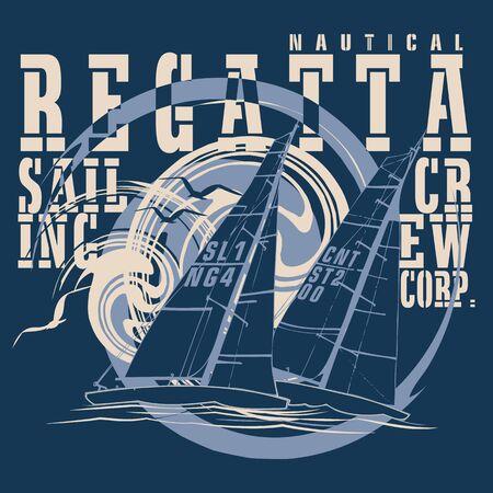 deportes nauticos: regata de barcos de vela con un fondo azul