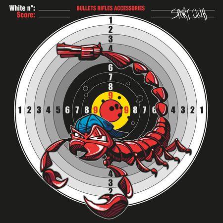 A scorpion with a gun as the stinger on a bullseye Illusztráció