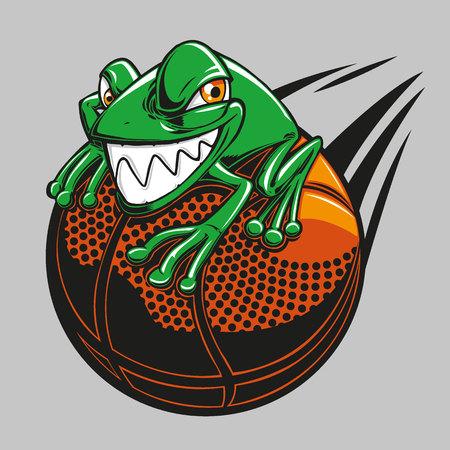 A frog on a basketball