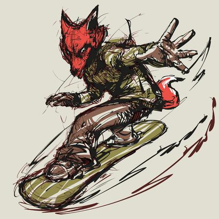 Illustration of a snowboarding fox
