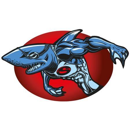 Illustration of a swimmer shark mascot