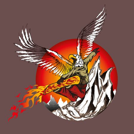 grab: Illustration of a snowboarder jumping eagle with fire