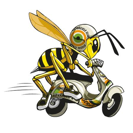 Illustration of a bee on His Scooter