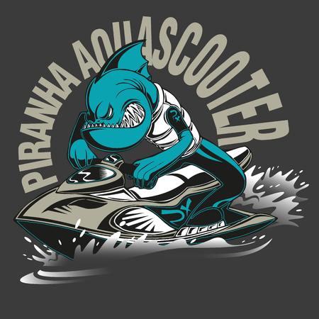 moto acuatica: Ilustración de una piranha enojado en un jet ski