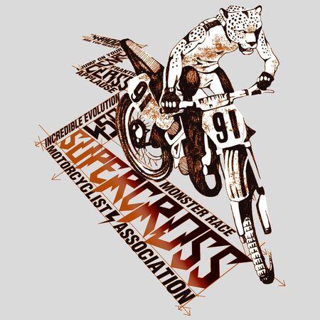 supercross: Illustration of an human leopard supercross rider