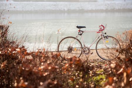 drava: Bicycle parked by the river Drava, Maribor, Slovenia