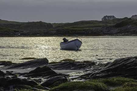 northern ireland: Fishing boat in the evening, County Donegal, Republic of Ireland