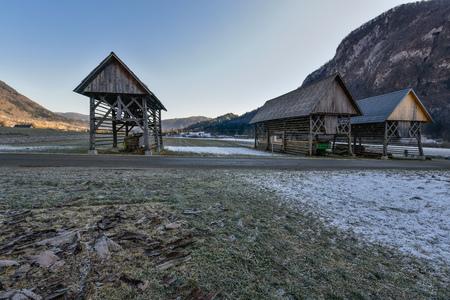 rack mount: Hay racks in slovenian village, Bohinj region Slovenia Stock Photo