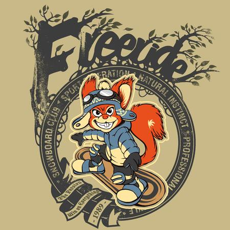 freeride: Illustration of a squirrel snowboarder