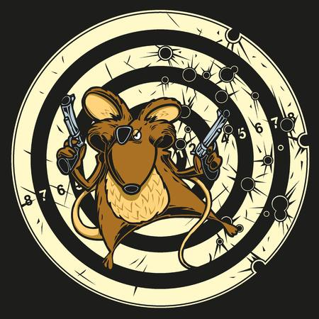 Illustration of a mouse with guns on a bullseye