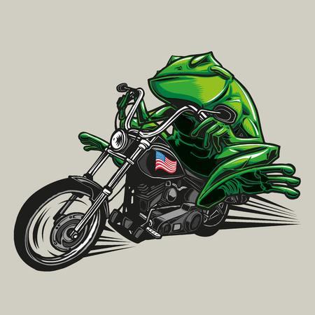 Ilustración de una rana montando su bicicleta Ilustración de vector