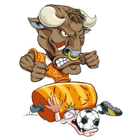 Illustration of a soccer player bull crushing His opponent Illustration