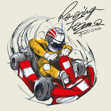 Illustration of a go kart driver
