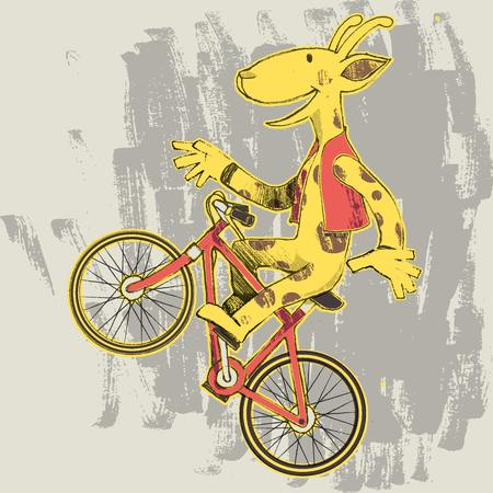 Illustration of a giraffe doing a wheelie on a bike