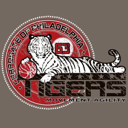Illustration of a tiger basketball team mascot