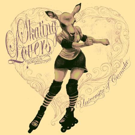 rollerblades: Illustration of a female roller skating deer