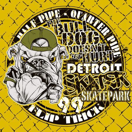 detroit: Illustration of a bulldog mascot of the detroit skatepark