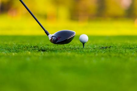 Ball and stick on golf course Фото со стока