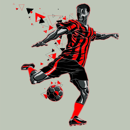 Soccer player with a graphic trail, red and black uniform