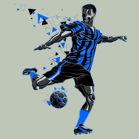 Soccer player with a graphic trail, blue and black uniform