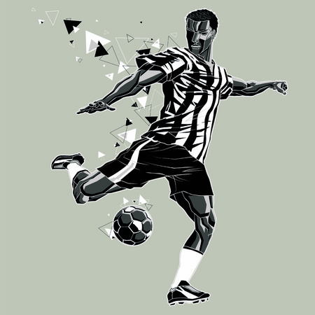 Soccer player with a graphic trail, black and white uniform Illustration