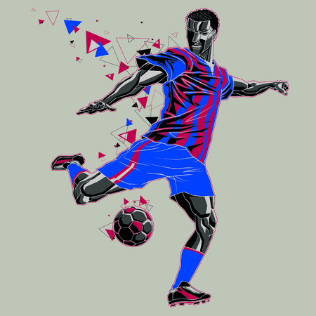 Soccer player with a graphic trail, blue and red uniform