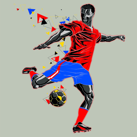 Soccer player with a graphic trail, red and blue uniform