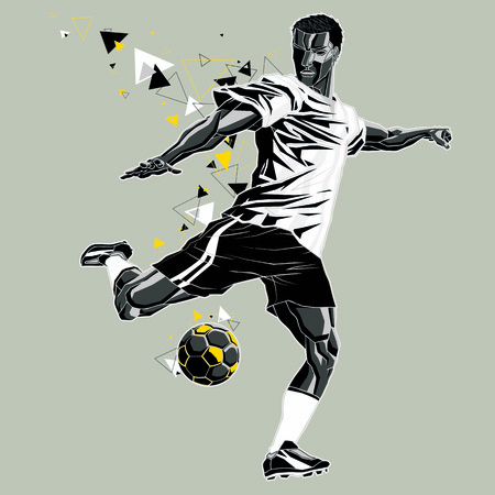 Soccer player with a graphic trail, white and black uniform