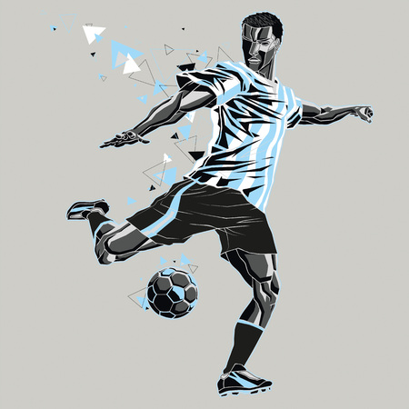 Soccer player with a graphic trail, light blue  white t-shirt