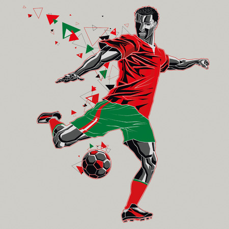 Soccer player with a graphic trail, red and green uniform Illustration